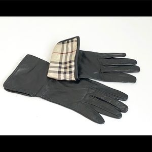 Burberry black leather gloves